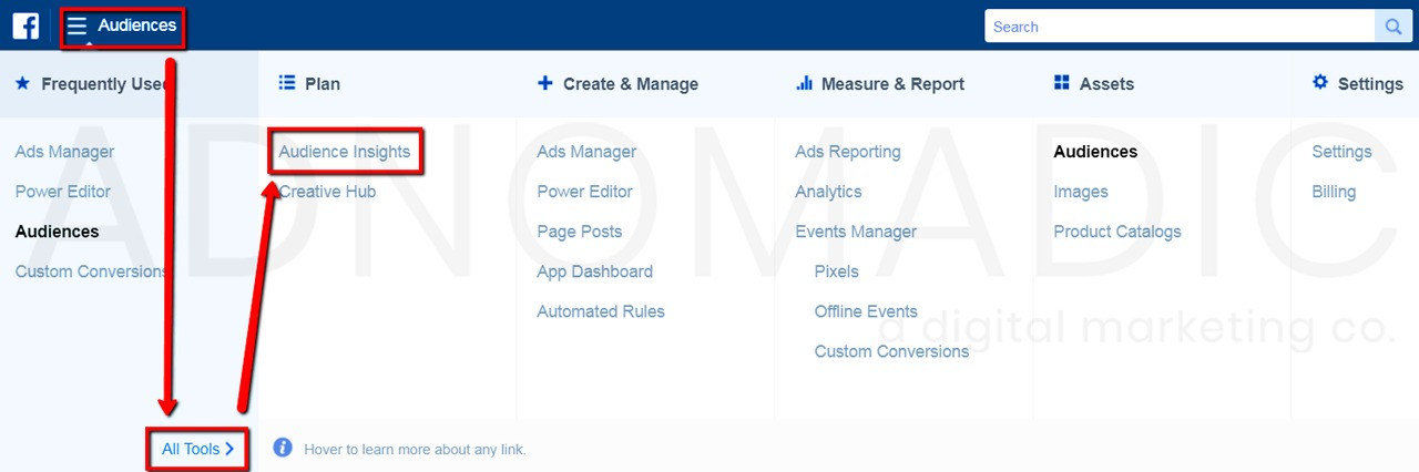 """Screen Shot: Navigating in Facebook account from drop down menu to """"audience insights"""""""