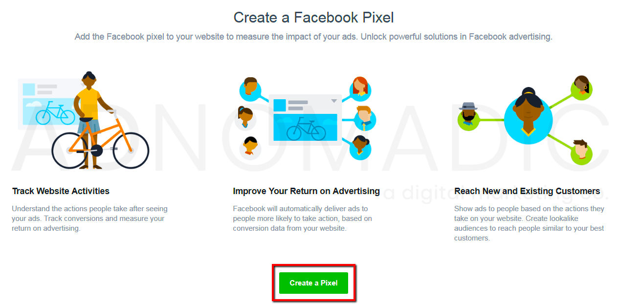"screen shot: ""Create a Facebook Pixel"" screen, with ""Create a Pixel"" button highlighted"