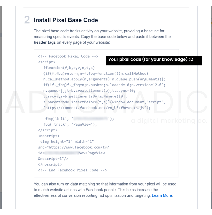 "Screen shot: scrolled down view of ""Email Pixel Code"" window, looking at the actual pixel code."